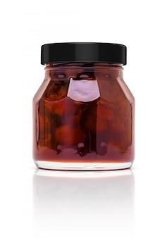 Blank packaging jam glass bottle isolated