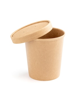 Blank packaging kraft paper cup for ecology product design mock-up isolated on white background with clipping path Premium Photo