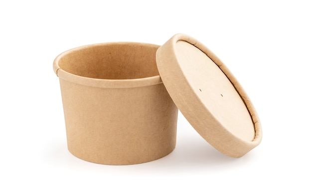 Blank packaging kraft paper cup for ecology product design mock-up isolated on white background with clipping path