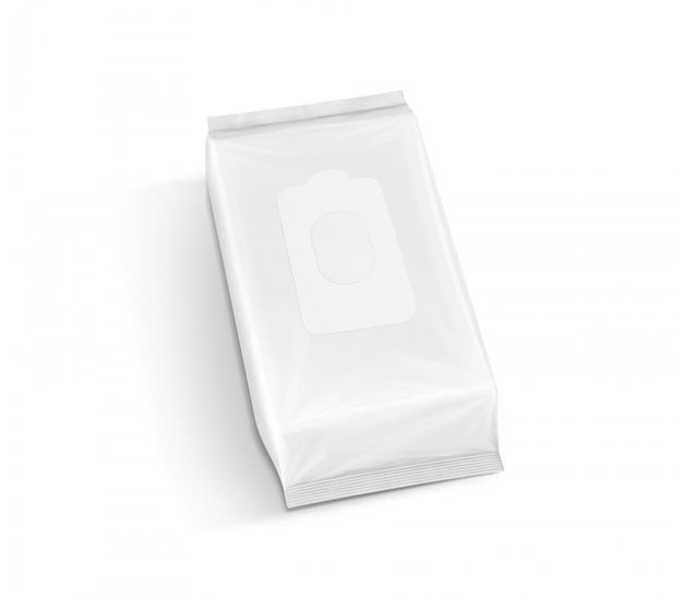 Blank packaging paper wet wipes pouch in top view isolated