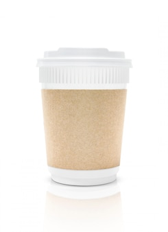 Blank packaging plastic coffee cup to go isolated