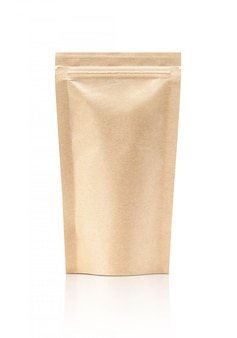 Blank packaging recycle kraft paper pouch isolated