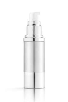 Blank packaging silver bottle for cosmetic serum product design mock-up isolated on white background with clipping path