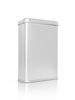 クリッピングパスで白に分離されたプレミアム製品デザインの空白のパッケージシルバー金属ボックス