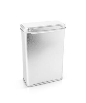 빈 포장은 금속 상자 흰색 절연