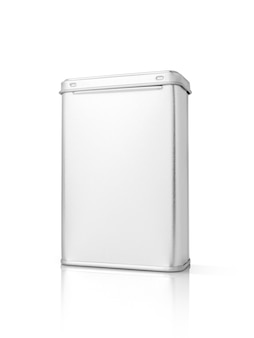 Blank packaging silver metallic box isolated on white