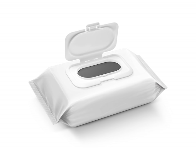 Blank packaging wet wipes pouch isolated