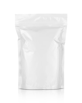 Blank packaging white aluminum foil zipper pouch isolated on white background with clipping path