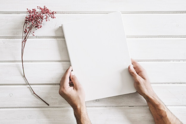 Blank page next to flower