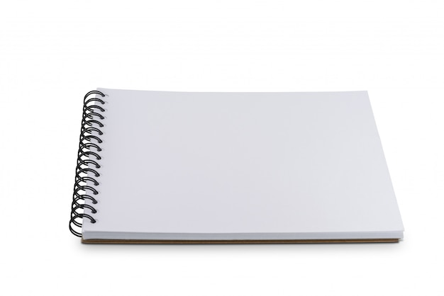 Blank page notebook or sketchbook isolated on white