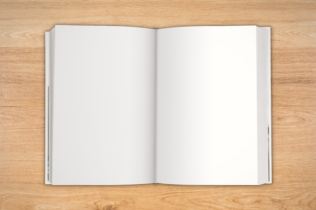 Blank pages notebook top view on wooden table