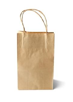 Blank paper bag on white