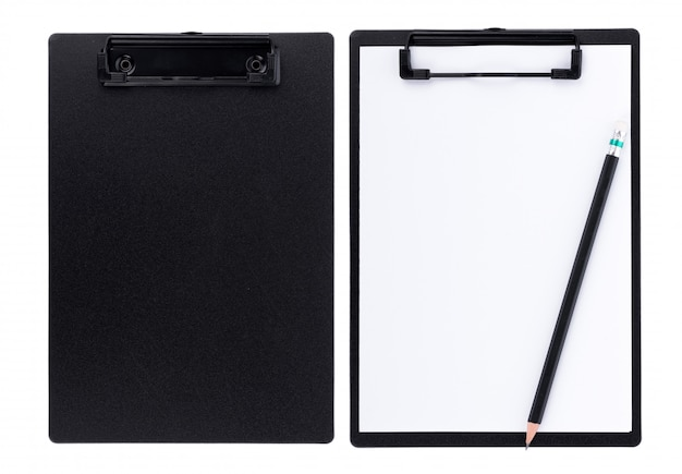 Blank paper on black clipboard with space on white background