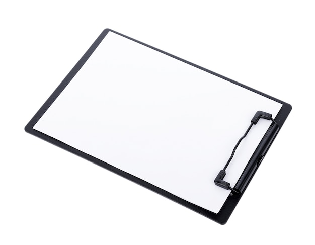 Blank paper on black clipboard with space on white surface