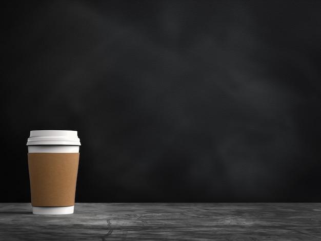Пустая бумажная кофейная чашка с пустым пространством на доске