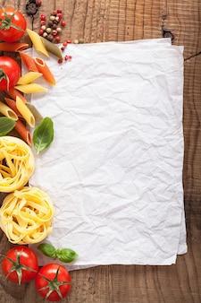トマトパスタコショウの材料を使ったレシピの白紙
