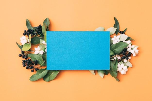 Чистая бумага для заметок или открытки с цветами омелы, вид сверху