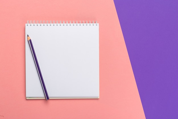 Blank paper notepad on bright bicolor