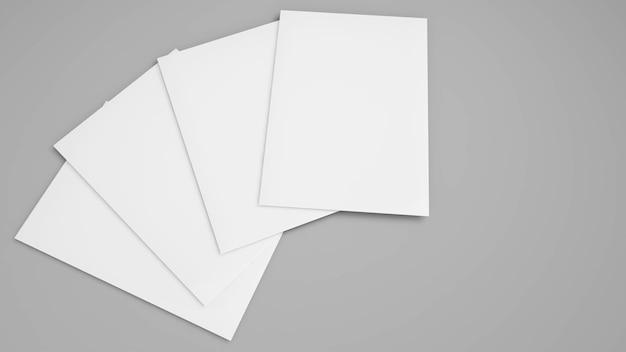 灰色の背景に白紙、空白の肖像画a4、孤立した灰色の背景のモックアップ、3dレンダリング