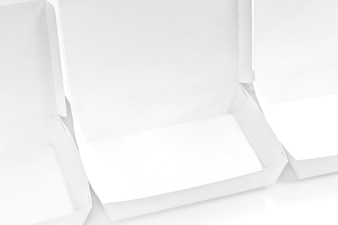Blank paper package white box for food products on the white background