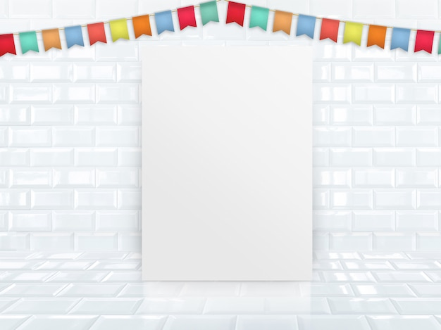 Blank paper poster leaning at white glossy tile studio room with colorful banner flag.