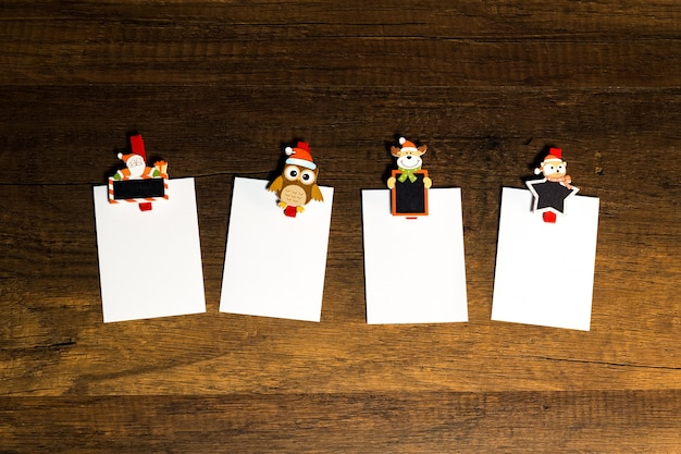Blank paper sheet with christmas theme paper clip