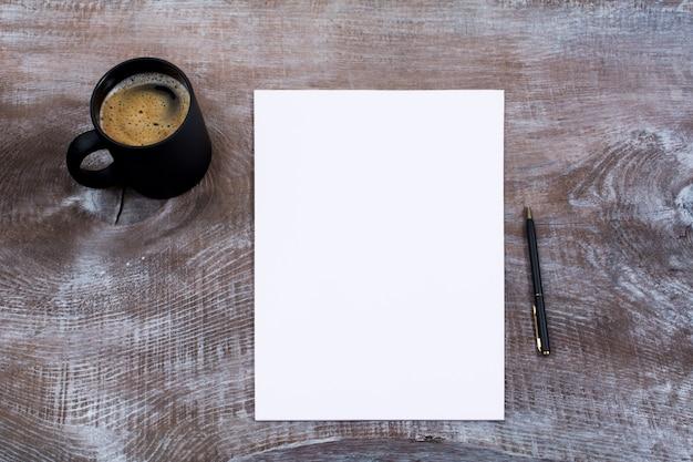 Blank paper sheet with cofee mug