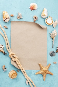 Blank paper sheet with nautical rope