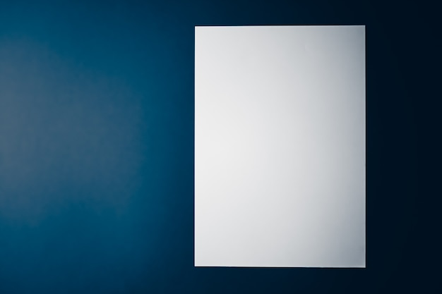 Blank a paper white on blue background as office stationery flatlay luxury branding flat lay and bra...