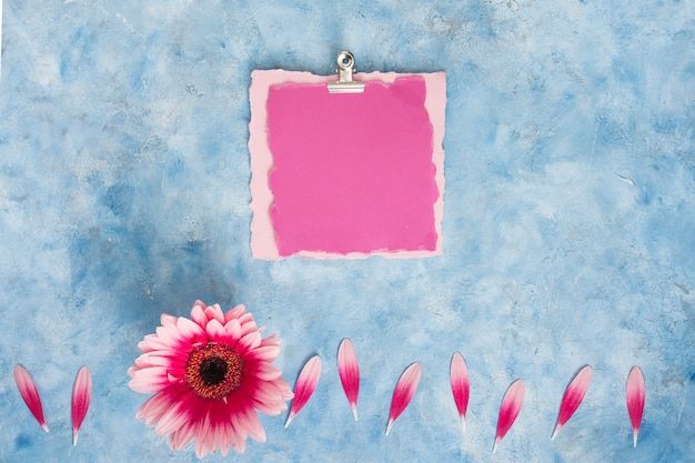Blank paper with gerbera flower on table