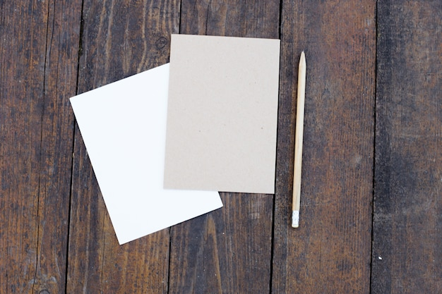 Blank paper with pencil.