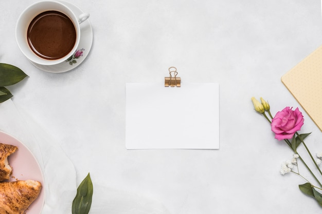 Blank paper with rose and coffee cup