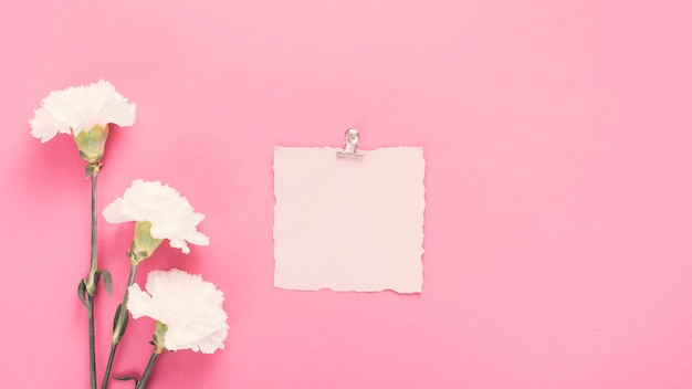 Blank paper with white flowers on table