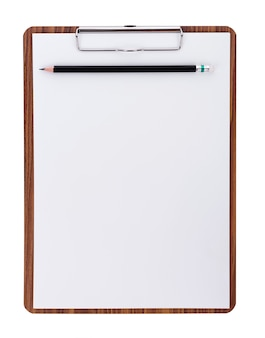 Blank paper on wooden clipboard with space on white surface