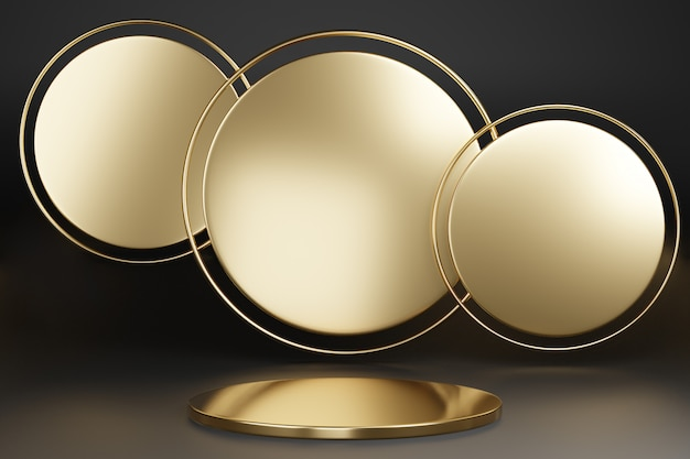 Blank pedestal with round gold circle on dark, 3d rendering mockup