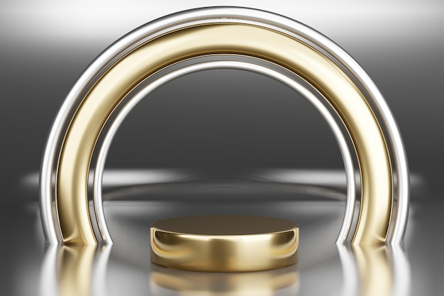 Blank pedestal with round gold frame, 3d rendering