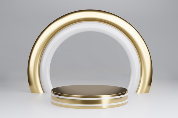 Blank pedestal with round gold frame on gray, 3d rendering mockup
