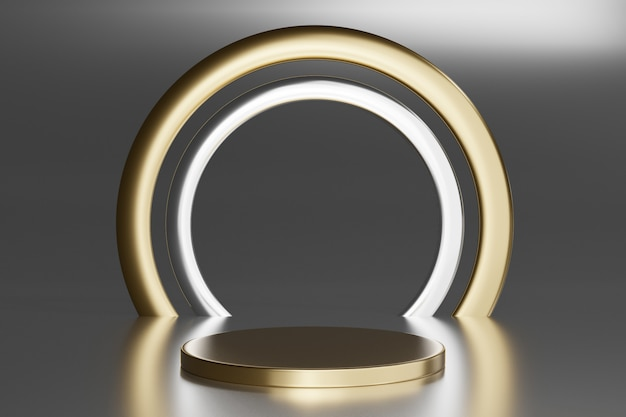 Blank pedestal with round gold ring on gray, 3d rendering mockup