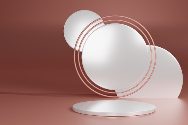 Blank pedestal with round white and pink gold ring, 3d rendering