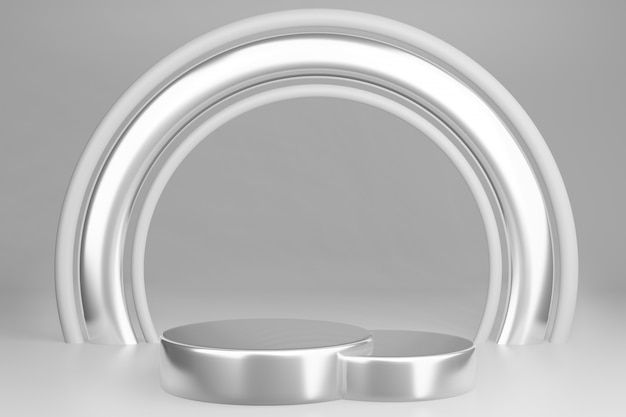 Blank pedestal with round white and silver frame, 3d rendering
