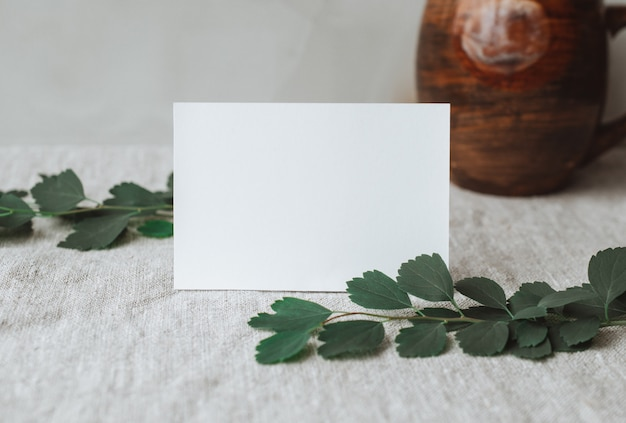 Blank personal card stationery mockups with natural sunlight and botanical shadows on gray linen