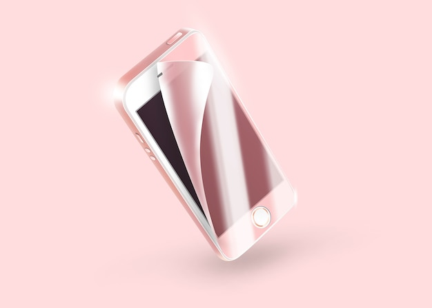 Blank phone protection film on screen