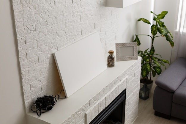 Blank photo canvas template, photo made in loft