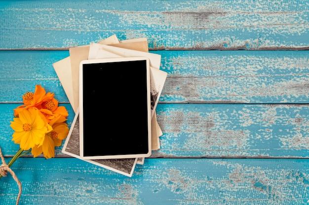 Blank photo frame album with flower