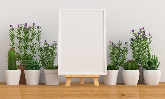 空白のフォトフレームと花