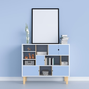 Blank photo frame on the cabinet for mockup