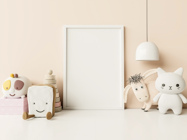 Blank photo frame in child room interior, on empty cream color wall, 3d rendering