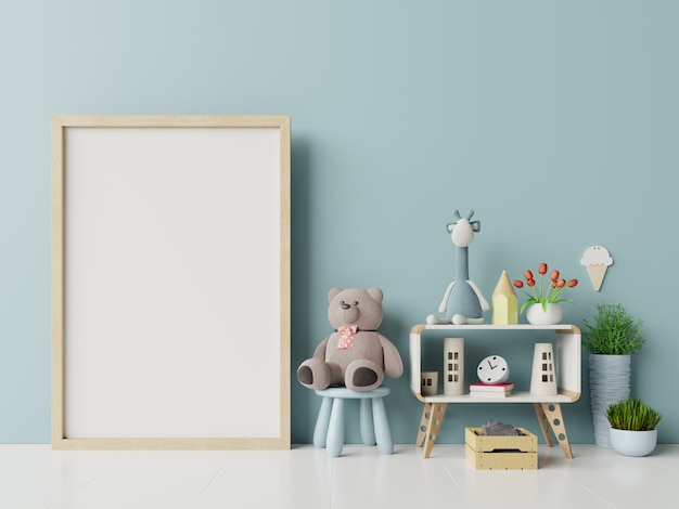 Blank photo frame in child room interior.