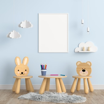 Blank photo frame  in children room