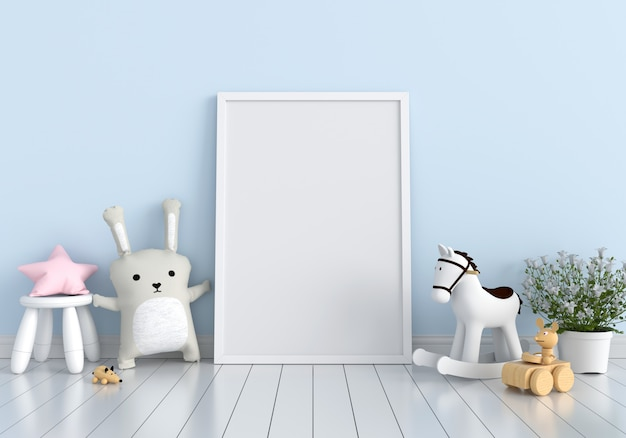 Blank photo frame and doll